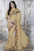 DESIGNER BEIGE EMBROIDERED FAUX CHIFFON PARTY WEAR SAREE