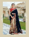 DESIGNER BLUE & CREAM FANCY PARTY WEAR SAREE