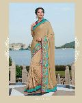 DESIGNER EMBROIDERED BEIGE FANCY PARTY WEAR SAREE