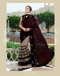 DESIGNER EMBROIDERED BLACK & CREAM FANCY PARTY WEAR SAREE
