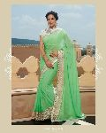DESIGNER EMBROIDERED GREEN FANCY PARTY WEAR SAREE