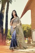 DESIGNER EMBROIDERED NET & SATIN JACQUARD PARTY WEAR SAREE