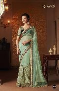 DESIGNER EMBROIDERED SEA GREEN NET PARTY WEAR SAREE