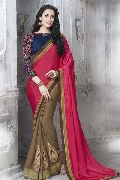 DESIGNER FUCHSIA & BEIGE FAUX CHIFFON EMBROIDERED PARTY WEAR SAREE
