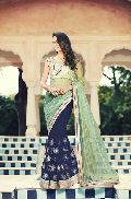 DESIGNER GREEN & BLUE FANCY PARTY WEAR SAREE