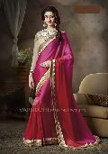 Designer Pink Embroidered Satin Georgette Party Wear Saree