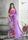 Designer Printed Lavender Color Georgette Party Wear Saree