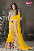 Designer Yellow Embroidered Faux Georgette Party Wear Saree