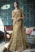 Ethnic Designer Beige Net Bridal Lehenga