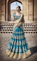 Ethnic Designer Embroidered Beige & Firozi Party Wear Lehenga