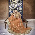Ethnic Designer Embroidered Orange Net Bridal Lehenga
