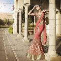 Ethnic Designer Embroidered Pink Georgette Party Wear Lehenga