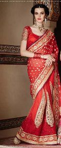 Ethnic Designer Embroidered Red Party Wear Saree