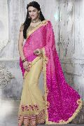 FUCHSIA & BEIGE SATIN & NET PARTY WEAR SAREE