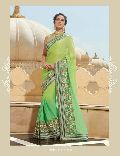 GREEN FANCY EMBROIDERED PARTY WEAR SAREE