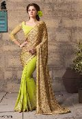 NEON GREEN DIGITAL PRINTED GEORGETTE PARTY WEAR SAREE