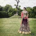 Wine Color Designer Embroidered Bridal Lehenga