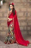 RED & CREAM PRINTED GEORGETTE PARTY WEAR SAREE