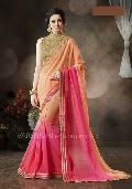 Shaded Pink Embroidered Ethnic Party Wear Saree