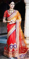 Orange Embroidered Designer Party Wear Saree