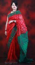 Deep Red Dhakai Jamdani Sarees