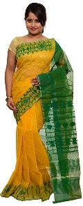Yellow and Green Dhakai Jamdani Sarees