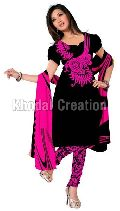 Amazing black and pink colored  Straight Suit chanderi