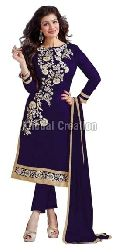 Blue Colored Embroidered Straight Suit