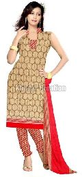 Cream  Colored Fancy and printed Straight Suit chanderi