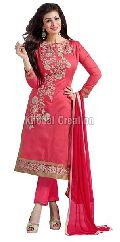 Ealegant Pink Georgette Straight Suit chanderi