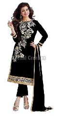 Fancy Black colored Embroidered Straight Suit
