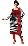 Fashionable red and black colored Straight Suit chanderi