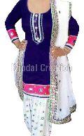 Fashionable White And Blue Patiyala Suit