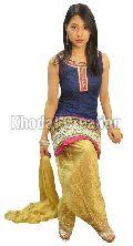 Latest Blue And Cream Patiyala suit