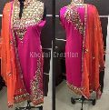 Orange and pink colored mirror work Straight Suit
