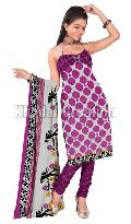 Purple Colored printed Straight Salwar Suit