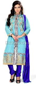SkyBlue Embroidered Straight Suit