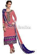 Stunning Pink Embroidered Straight Suit