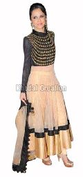 stylish Black and Cream colored Anarkali Suit
