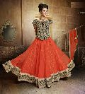 Artistic Orange Designer Lehenga Choli with Heavy Worked Blouse