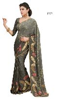 Black Color Printed Georgette  Saree with Blause