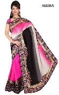 Designer Fancy Pink and Black Georgette Party Wear Saree