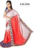 Designer Orange and White Crape Wedding Wear Saree