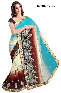 Designer Sky Blue and Brawn Chiffon Party Wear Saree