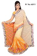 Designer Yellow and Cream Georgette Wedding Wear Saree