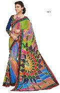 Multi Color Printed Lace Work Georgette Saree with Blause