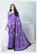 Radhika Fiber Blue Color Printed Crepe Silk Saree with Blause