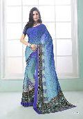Fibers Blue Color Printed Crepe Silk Saree