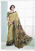 Fibers Mehandi Color Crepe Silk Saree