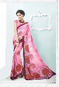 Radhika Fibers Pink Color Printed Crepe Silk Saree with Blause